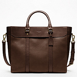 NEW CROSSBODY LEATHER BUSINESS TOTE - BRASS/OAK - COACH F70715