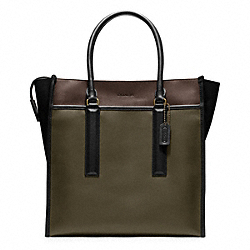 COACH BLEECKER LEATHER TOTE - BRASS/DARK OLIVE/MAHOGANY - F70725