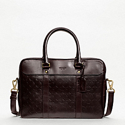 CROSBY LEATHER LOGO ZIP TOP BRIEF COACH F70737
