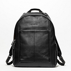 COACH HERITAGE WEB LEATHER BACKPACK - SILVER/BLACK - F70747
