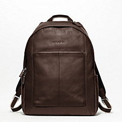 COACH HERITAGE WEB LEATHER BACKPACK - SILVER/BROWN - F70747
