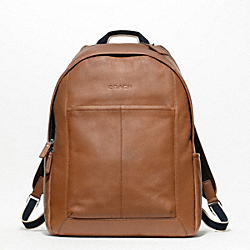 COACH HERITAGE WEB LEATHER BACKPACK - SILVER/SADDLE - F70747