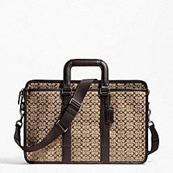 COACH SIGNATURE JACQUARD EMBASSY BRIEF - GM/KHAKI BROWN - F70759