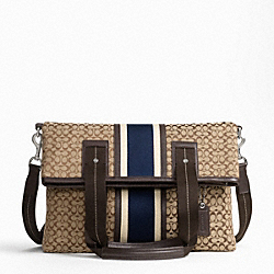 COACH SIGNATURE JACQUARD STRIPE FOLDOVER TOTE - ONE COLOR - F70773