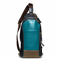 COACH BLEECKER LEATHER COLORBLOCK CONVERTIBLE SLING - BRASS/OCEAN/NAVY - F70796