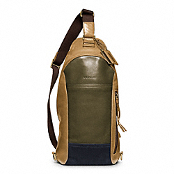 COACH BLEECKER LEATHER COLORBLOCK CONVERTIBLE SLING - BRASS/DARK OLIGHT GOLDVE/SAND - F70796