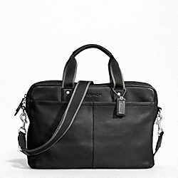 HERITAGE WEB LEATHER ZIP TOP BRIEF COACH F70812