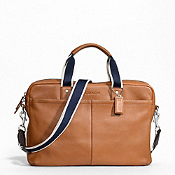 HERITAGE WEB LEATHER ZIP TOP BRIEF - SILVER/SADDLE - COACH F70812