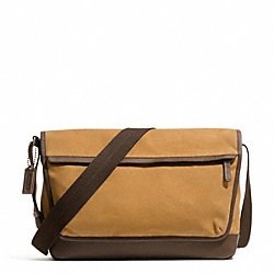 COACH CAMDEN CANVAS MESSENGER - GUNMETAL/MUSTARD/DARK BROWN - F70829