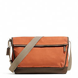 COACH CAMDEN CANVAS MESSENGER - GUNMETAL/ORANGE/DARK BROWN - F70829