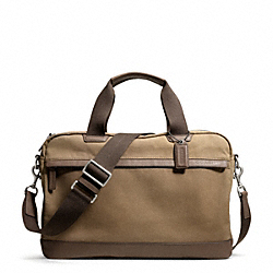 COACH CAMDEN CANVAS ZIP TOP BRIEF - GUNMETAL/KHAKI - F70831