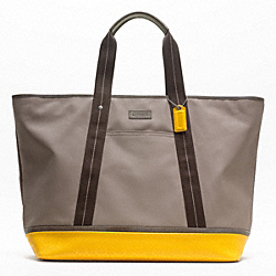 COACH HERITAGE SIGNATURE EMBOSSED PVC CANVAS WEEKEND TOTE - SILVER/KHAKI/YELLOW - F70832