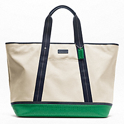 COACH HERITAGE SIGNATURE EMBOSSED PVC CANVAS WEEKEND TOTE - SILVER/NATURAL/GREEN - F70832