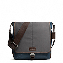 COACH VARICK NYLON COLORBLOCK MAP BAG - GUNMETAL/GREY/NAVY - F70833