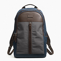 COACH VARICK NYLON COLORBLOCK BACKPACK - GUNMETAL/GREY/NAVY - F70835