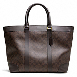 BLEECKER SIGNATURE WEEKEND TOTE - BRASS/MAHOGANY/BROWN - COACH F70853