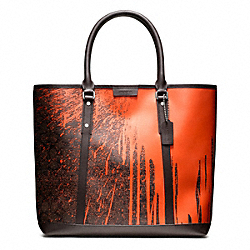BLEECKER SIGNATURE KRINK TOTE - BRASS/ORANGE/MAHOGANY - COACH F70879