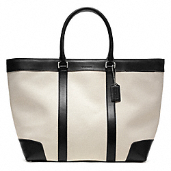 BLEECKER CITY CANVAS WEEKEND TOTE - SILVER/NATURAL/BLACK - COACH F70889