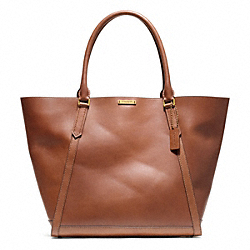 BLEECKER FULTON TOTE IN LEATHER - f70895 -  BRASS/FARGO BROWN