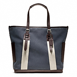 COACH BLEECKER CITY CANVAS CITY TOTE - SILVER/DENIM - F70896