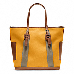 COACH BLEECKER CITY CANVAS CITY TOTE - SILVER/MANGO - F70896