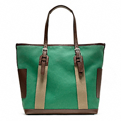 BLEECKER CITY CANVAS CITY TOTE - SILVER/LEAF - COACH F70896