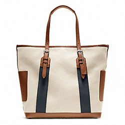 COACH BLEECKER CITY CANVAS CITY TOTE - SILVER/NATURAL - F70896