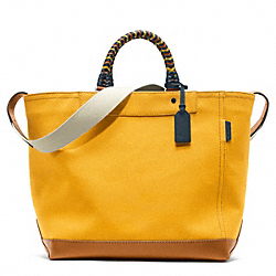 COACH BLEECKER BEACH CANVAS TOTE - SILVER/MANGO - F70897