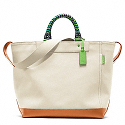 COACH BLEECKER BEACH CANVAS TOTE - SILVER/NATURAL - F70897