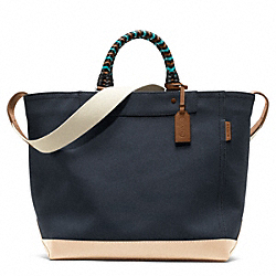 COACH BLEECKER BEACH CANVAS TOTE - SILVER/NAVY - F70897