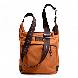 COACH VARICK NYLON TECH CROSSBODY - GUNMETAL/ORANGE/DARK BROWN - F70913