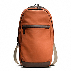 COACH CAMDEN CANVAS UTILITY PACK - GUNMETAL/ORANGE/DARK BROWN - F70930