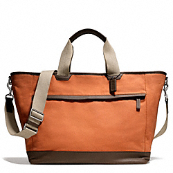 COACH CAMDEN CANVAS WEEKEND TOTE - GUNMETAL/ORANGE/DARK BROWN - F70931