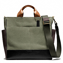 BLEECKER CANVAS UTILITY TOTE - OLIGHT GOLDVE/BLACK - COACH F70945