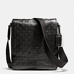 COACH BLEECKER MAP BAG IN OP ART EMBOSSED LEATHER - SILVER/BLACK - F70950