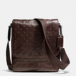 COACH BLEECKER MAP BAG IN OP ART EMBOSSED LEATHER - SILVER/MAHOGANY - F70950
