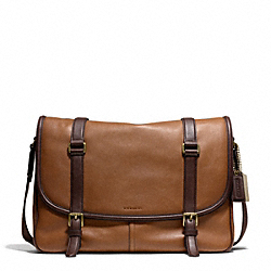 COACH BLEECKER HARNESS LEATHER COURIER BAG - BRASS/DOE/MAHOGANY - F70960