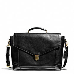 CROSBY BOX GRAIN LEATHER FLAP BRIEF - BRASS/BLACK - COACH F70961