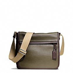 CAMDEN LEATHER MAP BAG - f70973 - GUNMETAL/FATIGUE/DARK MAHOGANY