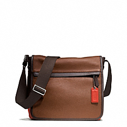 CAMDEN LEATHER MAP BAG - GUNMETAL/SADDLE/PAPAYA - COACH F70973