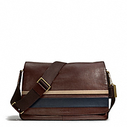 BLEECKER DEBOSSED PAINTED STRIPE LEATHER COURIER BAG COACH F70986
