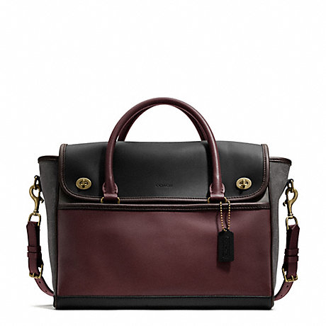 COACH COLORBLOCK LEATHER UTILITY FLAP COMMUTER -  - f70987