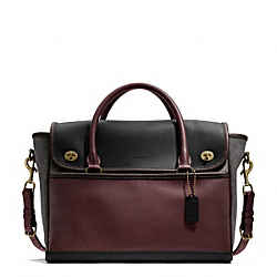 COLORBLOCK LEATHER UTILITY FLAP COMMUTER COACH F70987