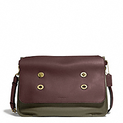 COACH BLEECKER COLORBLOCK LEATHER LARGE MESSENGER - BRASS/MAHOGANY/DARK OLIVE - F70990