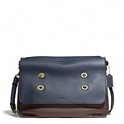 COACH BLEECKER COLORBLOCK LEATHER LARGE MESSENGER - BRASS/NAVY/MAHOGANY - F70990