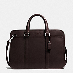 LEXINGTON LEATHER MIXED MATERIAL COMMUTER - SILVER/MAHOGANY/KHAKI - COACH F71016