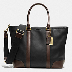 COACH BLEECKER BUSINESS TOTE IN HARNESS LEATHER - BRASS/BLACK/MAHOGANY - F71026