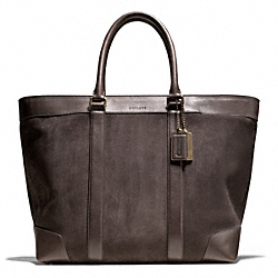 COACH BLEECKER SUEDE WEEKEND TOTE - SILVER/MAHOGANY - F71027