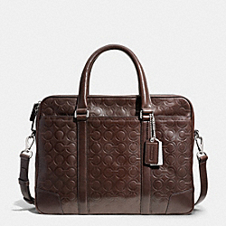 COACH BLEECKER SLIM BRIEF IN OP ART EMBOSSED LEATHER - SILVER/MAHOGANY - F71045