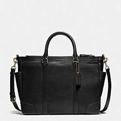 BLEECKER METROPOLITAN BAG IN LEATHER - BRASS/BLACK - COACH F71057